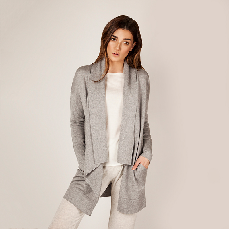 Kate merino cardigan grey