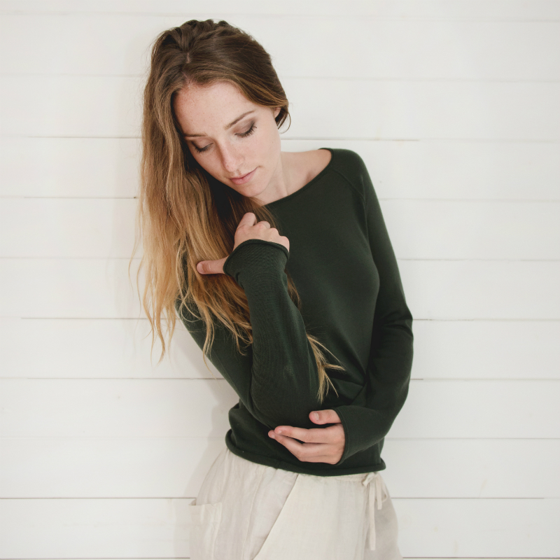 Phoebe Merino dark green top
