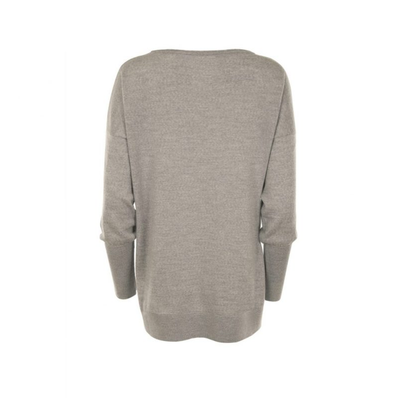 Eloise Merino Sweater in Grey. Back View