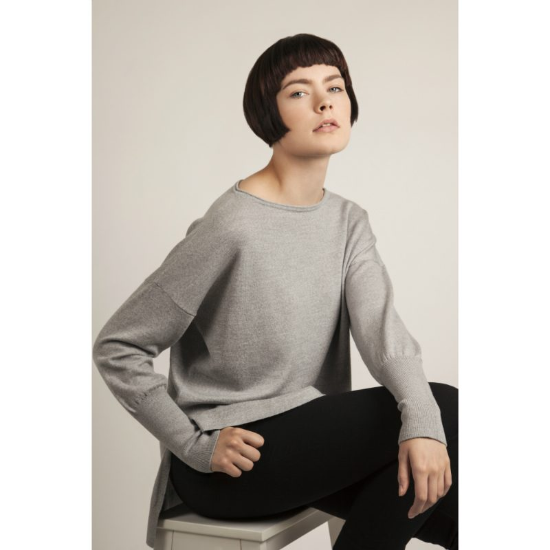 "Model wears merino wool jumper ('Eloise"") in grey"