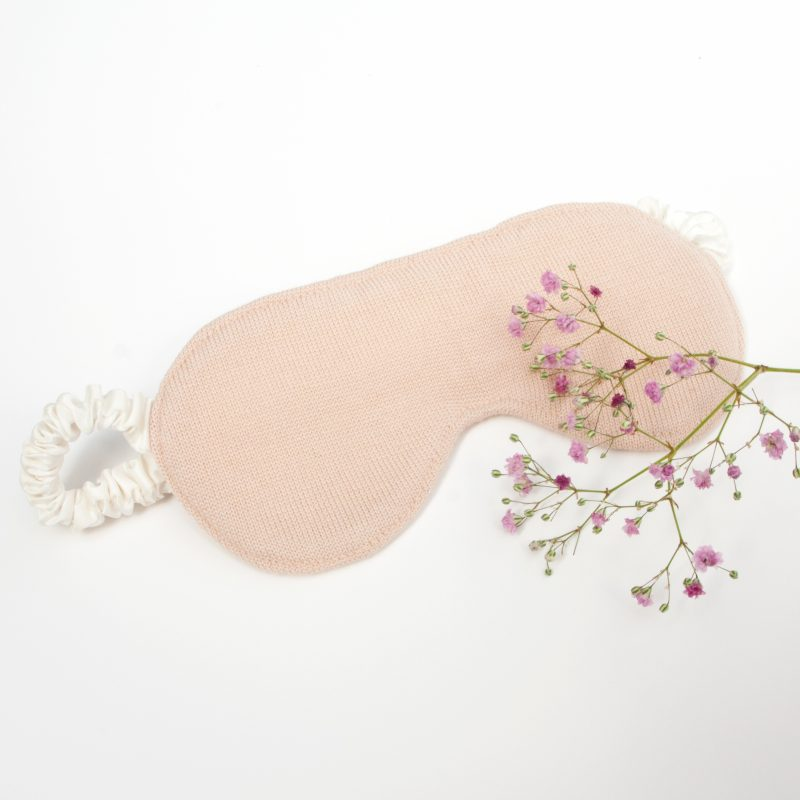 Luxury silk eye mask in blush with flower