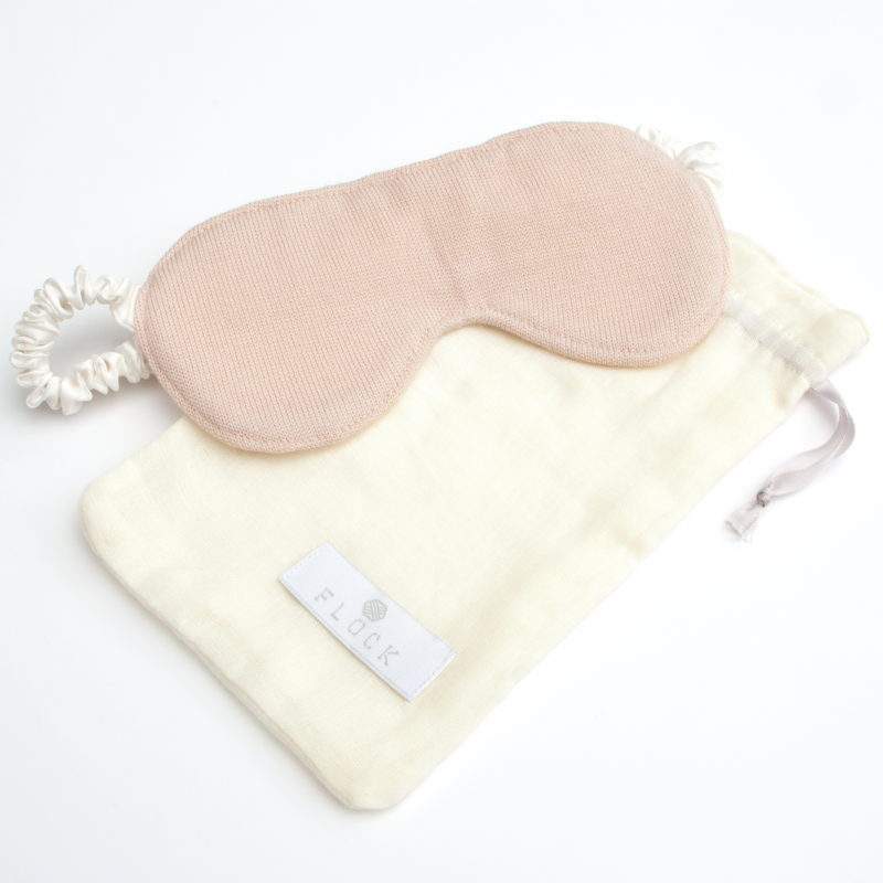Luxury silk eye mask in blush with pouch