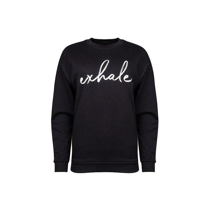Exhale Sweatshirt_Black Front_Flock
