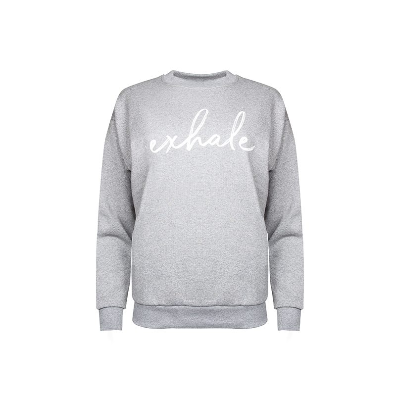 Exhale Sweatshirt_Grey Front_Flock