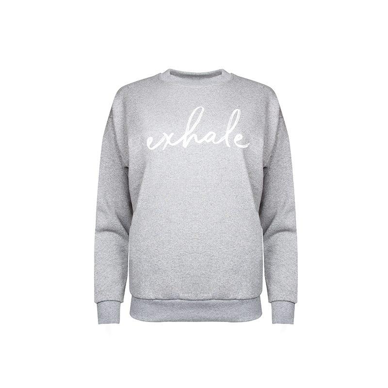 Exhale Sweatshirt_Grey Front_Flock