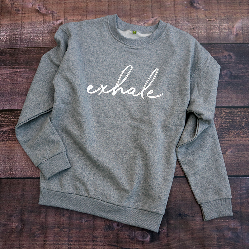 Exhale Sweatshirt_Grey_Flock